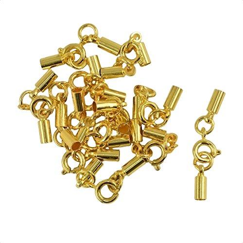 Sharplace 12 Stück Vintage Metal Round Tube Spring Hummerverschlüsse & Crimpenden für 4mm Kordel - Gold