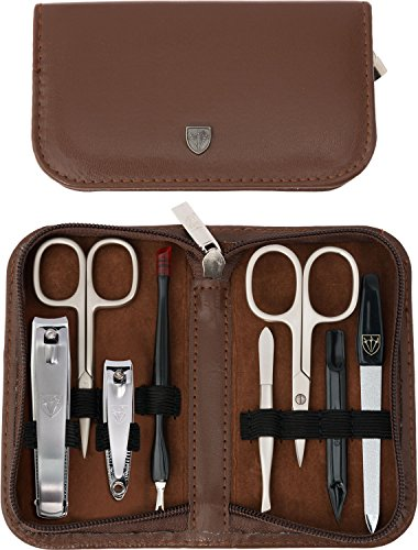 3 Swords Germany - brand quality 8 piece manicure pedicure grooming kit set for professional finger & toe nail care scissors clipper fashion leather case in gift box, Made by 3 Swords (6660)