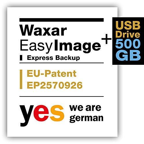 Waxar EasyImage-500, High-End Backup Software inklusive USB-Festplatte 512GB, läuft automatisch ohne-Installation, kompatibel zu Windows, Mac, Linux, PC-Edition -1 Gerät, deutsch