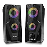 2 Casse PC,ARCHEER, Cassa per pc 2*5W Altoparlanti USB Stereo Speaker Altoparlante Controllo del volume Casse RGB 2.0 gaming con Gradevole Illuminazione LED per TV PC MP3 MP4 Tablet computer Karaoke