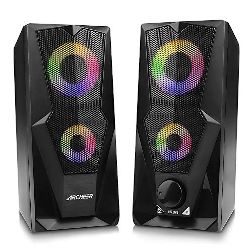 ARCHEER Altavoces PC, Altavoz 2.0 USB Gaming Altavoz PC RGB 2 * 5W Sonido Estéreo de Doble Canal Multimedia con LED para computadora Gaming Speaker TV PC MP3 MP4 Karaoke Computadora Tableta
