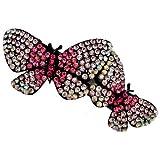 Acosta–Cristal Rose Double papillon–diapositive cheveux Barrette/accessoire–Boîte Cadeau