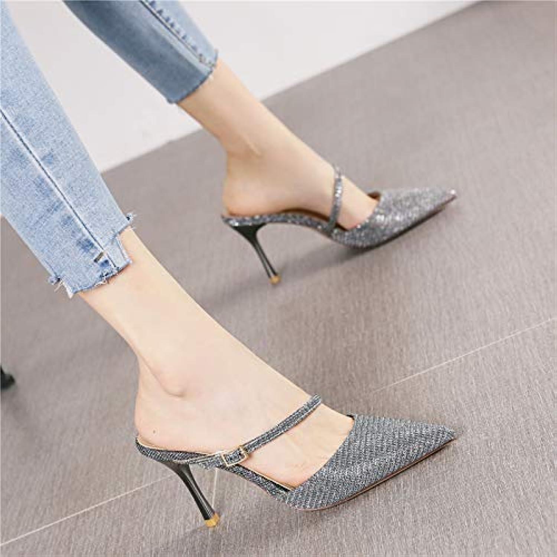 HRCxue Pumps Mode Silber Spitze Stiletto Heels Damen Temperament Wilde Einknopf-Schnalle hinter der Luft in Sandalen und Hausschuhen