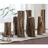 Maya Star Jarrones de madera de estilo japonés, arreglo floral creativo moderno...