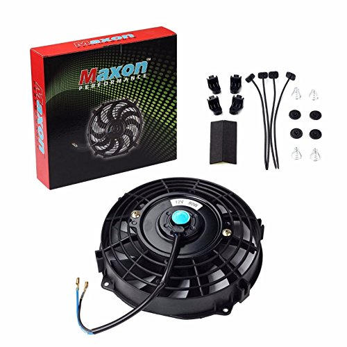 Universal Slim Fan Push Pull Electric Radiator Cooling 12V 80W Mount Kit (Black, 7