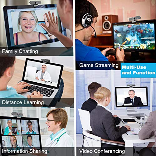Webcam with Microphone, Full 1080P Computer Camera,USB Web Cameras for Desktop, PC, Laptop, Manual Focus Streaming Webcam for Video Calling and Recording,YouTube,Skype, 90° Extended Viewing Angle