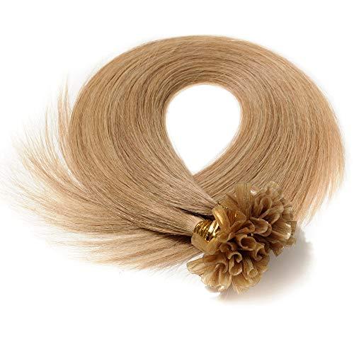 Extension Cheveux Naturel Keratine 1G Pose à Chaud 50 Mèches - 100% Vrai Cheveux Humain Rajout 22 Pouce(55CM) - #27 Blond foncé