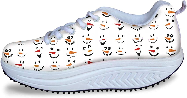Owaheson Swing Platform Toning Fitness Casual Walking shoes Wedge Sneaker Women Winter Xmas Snowmen Happy Thought