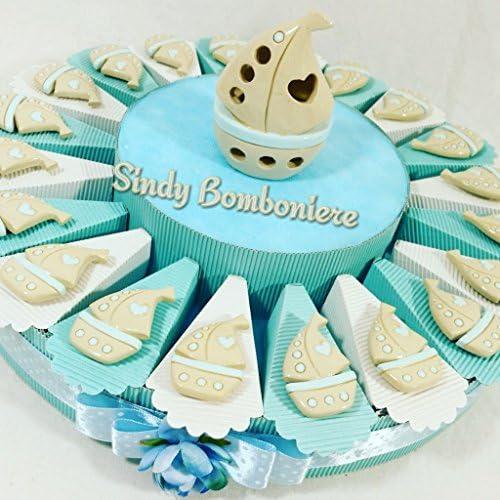 Bomboniere Torte Taufe Geburt Kommunion Konfirmation Barchetta A Vela Porzellan Magnet-Kind Torta Da 90 Fette + Centrale