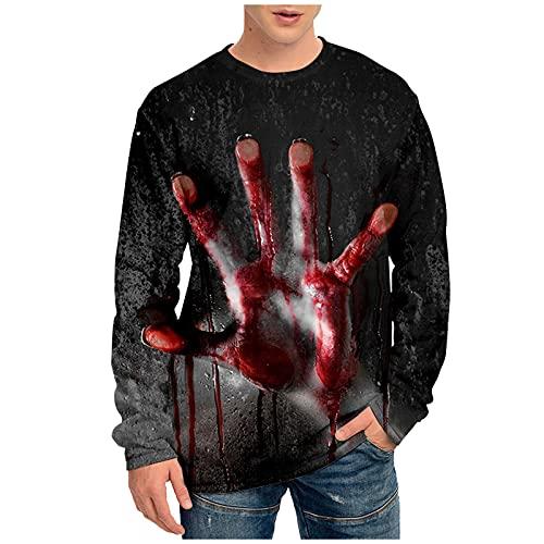 Tops for Men Halloween 3D Printed Pumpkin Long Sleeve Fashion Ghoust Horror T-Shirt Autumn Casual Loose Blouse Tee (02 Black, XXXL)