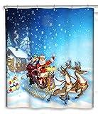 CHUN YI Impermeable Cortinas de baño, Feliz Navidad Decoración Cortina de...