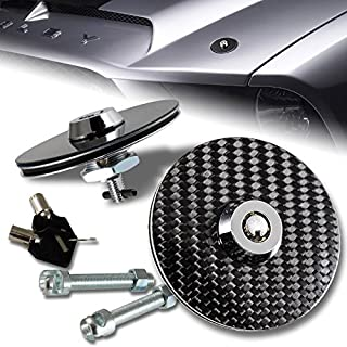 Mega Racer Universal 100% Carbon Fiber Front Hood Latch Pin Key Locking Kit Black Racing Sport Mount Bonnet Nismo Auto Sedan Coupe