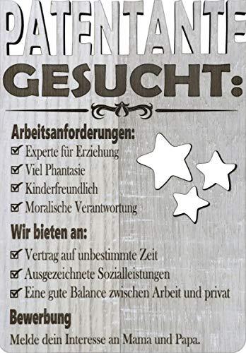 XL Glückwunschkarte aus Holz (Laminat), um jemanden wie Patentante zu fragen - wirst du mein Patentante sein? - Stellenangebot Patentante