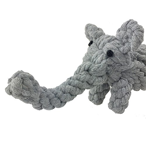 Aduck Pet Puppy Dog Cotton Rope Chew Toys for Teeth Cleaning, Elephant Design