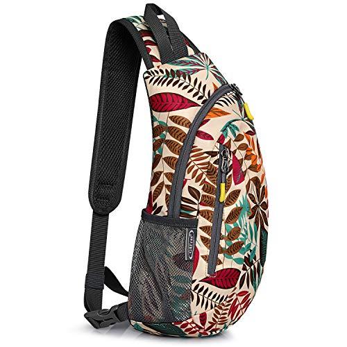G4Free Leichte Brusttasche Sling Schulter Rucksäcke Nette Umhängetasche Dreieck Pack Rucksack zum Wandern Radfahren Reisen oder Multipurpose Tagepacks (Ahornblatt Khaki)