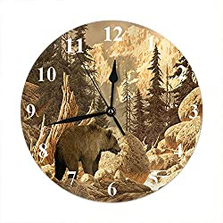 Moslion Grizzly Bear Wall Clock Animal Wilderness Brook Canyon Forest Mountain Nature Yellowstone Round Wall Clock Home Decor Wall Clock for Living Room Bedroom Kitchen Office
