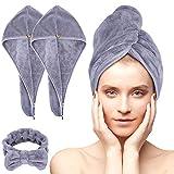 Acksonse, turbante per capelli, 3 pezzi, turbante con bottone, asciugatura rapida, asciugamano per capelli da donna, asciugamano in microfibra per testa e capelli lunghi
