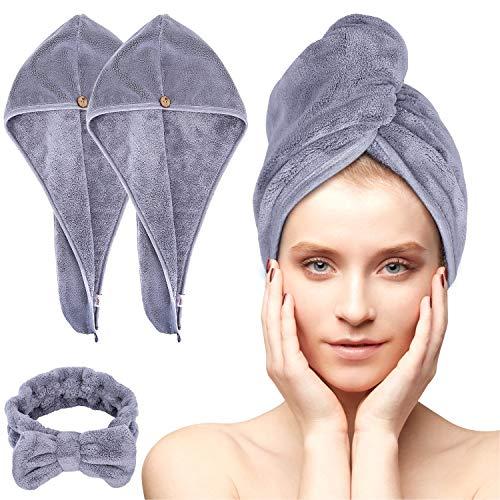 Acksonse Haarturban 3 Stück, Turban Handtuch mit Knopf, Schnelltrocknend Haarhandtuch für Frauen, Mikrofaser Handtuch für Kopf und Lange Haare (Grau)