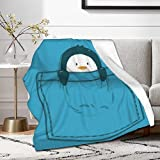Cute Pocket Penguin Blanket,Outdoor Blankets for Sofa Relax Napping Sleeping Throw Flannel Bedding Novelty Gift 50'x40' for Kids Throw