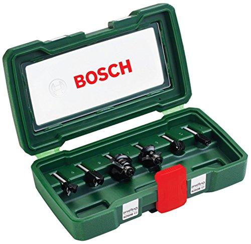 Bosch Set de 6 fresas de metal duro (para madera, Ø de vástago 6 mm, accesorios para fresadora)