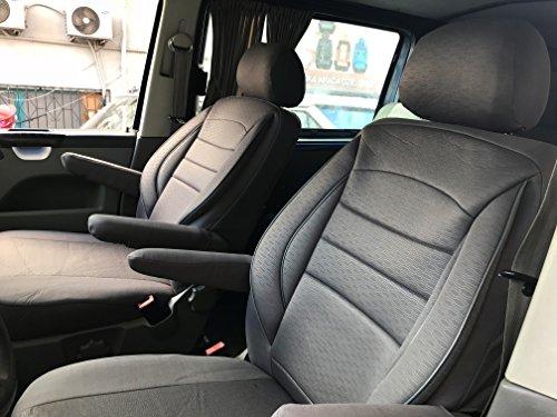 seatcovers by k-maniac Sitzbezüge T5 T6 Multivan California Kombi Caravelle Transporter Kasten Fahrersitz Beifahrersitz Armlehnen Design T49 grau