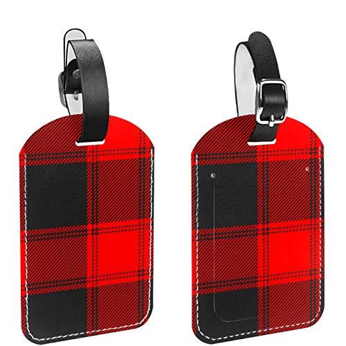 Etiqueta inicial para equipaje de viaje, totalmente flexible, de piel sintética, 2 piezas, diseño de búfalo escoceses, color rojo, negro