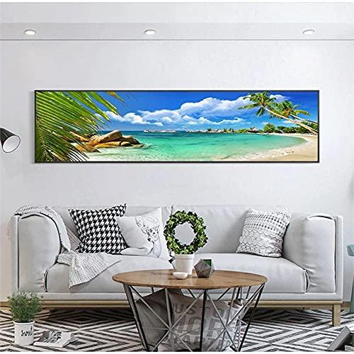 DIY 5D Kits Pintura Diamante Taladro Completo Playa mar Adultos Diamond Painting Redondo Rhinestone Bordado Punto Cruz Artes lienzo Para Decoración Pared Sala Estar 30x90cm/12x36in