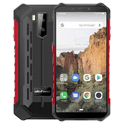 Outdoor Smartphones Ohne Vertrag, Ulefone Armor X3 Handys 5,5-Zoll IP68/IP69K Wasserdicht, 2GB + 32GB, 5000 mAh, Android 9 mit Corning Gorilla Glass, Globales 3G Frequenz-Dual-SIM-Telefon - Rot