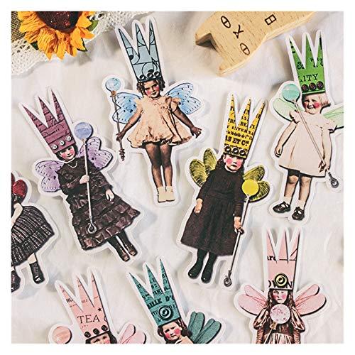 LUCHAO Stickers 27Pcs/Pack Vintage European Children Magic Crown Sticker DIY Craft Scrapbooking Album Junk Journal Planner Decorative Stickers (Color : A)