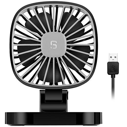 COMLIFE USB Auto Ventilator 5V, 10 cm drehbarer Auto Lüfter mit 3 Geschwindigkeiten, Leise Leistungsstarke Auto Air Fan für alle Familienwagen, Limousine, SUV, Golfwagen, LKW usw.