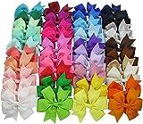 XiZiMi 10 Stücke Baby Mädchen Haarspangen Weiche Grosgrainband Bögen Alligator Haarspangen Zufällige Farbe für Jugendliche Kinder Kleinkind Random