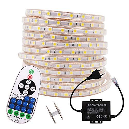 XUNATA 12 m 220 V 230 V Intensité variable 5050 SMD 60 LED/m Étanche IP67 Blanc chaud Flexible Flexible LED avec télécommande 23 touches pour la cuisine, Stairway Home Noël Décoration (blanc chaud, 12 m)