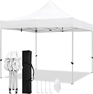 TopCamp 10x10 ft Pop-Up Canopy Tent, Outdoor Portable Instant Shelter for Party, Wedding, Commercial Activities with Aluminum Alloy Frame & 420D Waterproof and UV-Treated Top & Carry Bag (White)