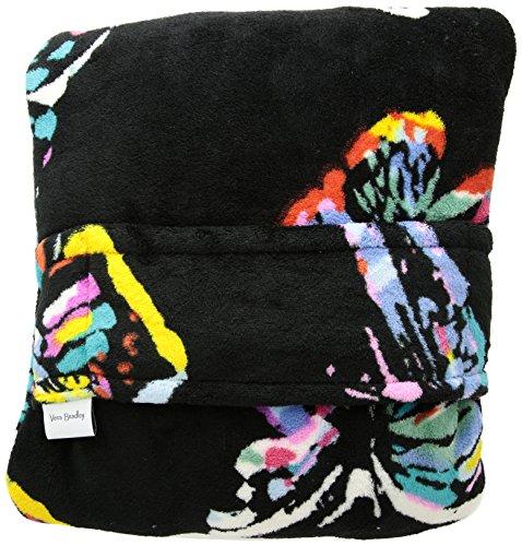 Vera Bradley Fleece Travel Blanket with Trolley Sleeve, Butterfly Flutter Black