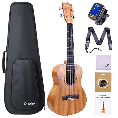 Concert Ukulele, Ohuhu 23 Inch Ukelele for Uke Beginners, with Tuner, Ukulele Backpack Style Gig Bag, Ukulele Strap (Strap Pins and Aquila Strings Installed)