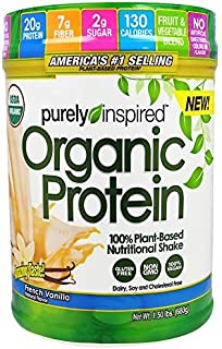Purely Inspired, Organic Protein, 100% Plant-Based Nutritional Shake, French Vanilla, 1.50 lbs (680 g)