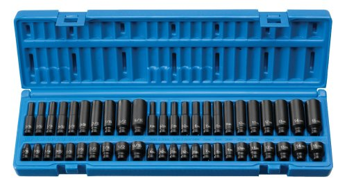 Grey Pneumatic small sized impact socket set for automotive use