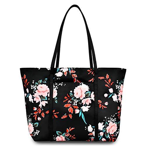 Floral Tote Bag Shoulder Bags For Women Waterproof Tote Handbags For Teens Beach School - Black Flower
