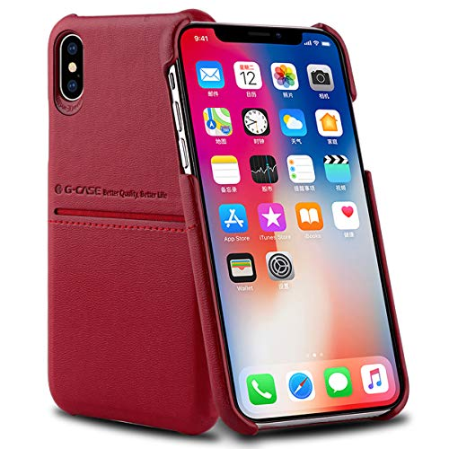 AICase® iPhone XS/X Custodia in Pelle PU, Morbido Tessuto + Pelle PU Premium con Portadocumenti e Carte di Credito Semplice Professionale Executive Snap On Cover per Apple iPhone XS/X