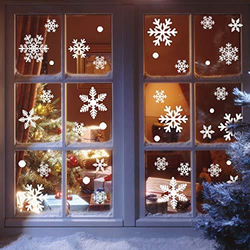 heekpek Fensterbilder Statisch Haftende PVC Sticker Weihnachten Fensterdeko Aufkleber Wandtattoo Wiederverwendbar Mit Bell und Weihnachtskugel (216 Schneeflocken)