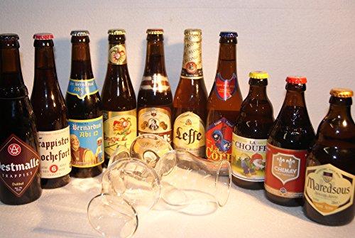 Bier Probier Set 10 Belgische Spezialbiere mit 2 Gläser
