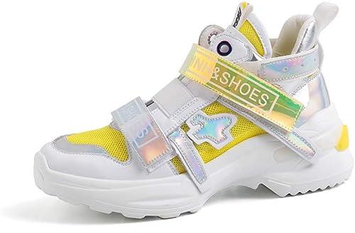 XLY Moda de mujer Chunky papá Zapatilla, Suela Plana Gruesa Tenis Casual Todos los días plataforma Deportes zapatos para Caminar,amarillo,38