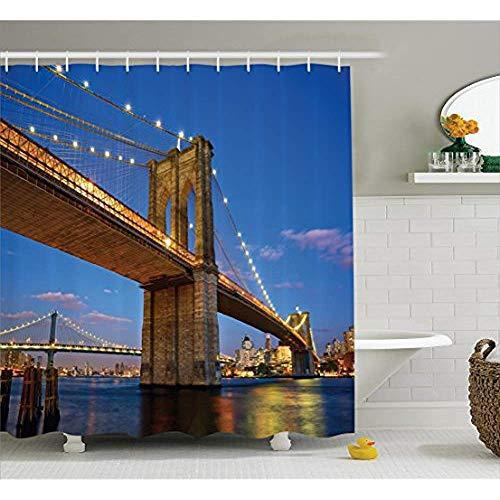 Yeuss Collection Appartement Decor,Pont de Brooklyn au crépuscule à New York,Image d'une Banlieue Moderne,Coucher de Soleil,Image du Coucher du Soleil,Rideau de Douche en Tissu en Polyester