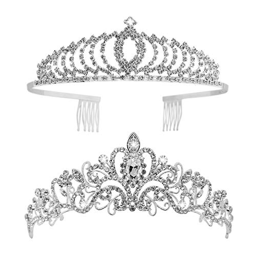 Tiaras and Crowns, Vofler 2 Pack Crystal Tiara Headpiece Rhinestone Hair Jewelry for Women Ladies Little Girls Bridal Bride Princess Queen Birthday Wedding Pageant Prom Halloween Costume Party Silver