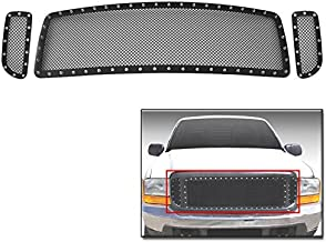 ZMAUTOPARTS Upper Rivet Stainless Steel Mesh Grille Grill Insert For 1999-2004 Ford F-250 F-350 F-450 F-550 Super Duty