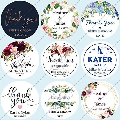 BLOUR 100 Stück, personalisiert, Hochzeitsaufkleber, Einladungen, Süßigkeiten begünstigt Geschenkboxen Etiketten, Geburtstag, Logo, Foto