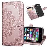 MRSTER Cover Compatibile con iPhone 5S, Flip Case Premium Protettiva Portafoglio PU Pelle Custodia per Apple iPhone 5 / iPhone 5S / iPhone SE. SD Mandala Rose Gold
