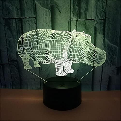 SLJZD nachtlicht Hippo Rhino Pattern 3D Led Night Lamp 5V Battery For Party Decoration 7 Colors Led Atmosphere Lamp Girl Novelty Gift Ohne Fernbedienung