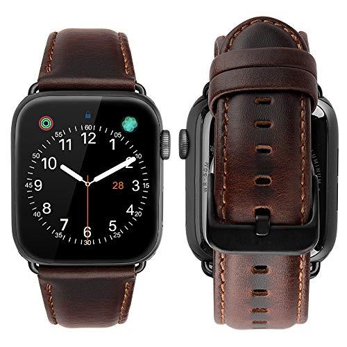 MroTech Compatible iWatch 42mm / 44mm Correa Cuero Pulseras de Repuesto Piel Genuino Banda Reemplazo para iWatch Serie 1 Serie 2 Serie 3 Serie 4 Series 5 Watch Band (42 mm / 44 mm, Café)
