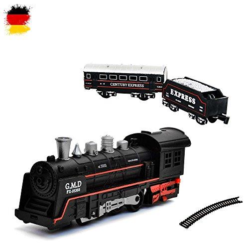 HSP Himoto Elektrische Eisenbahn Starter-Set, Zug, Dampf-Lok , Soundsimulation, Modell-Lokomotive